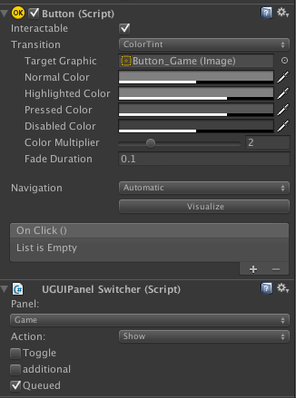 Screenswitcher component on Buttons